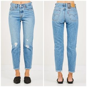 NEW Levi's Wedgie High Rise Distressed Crop Jeans